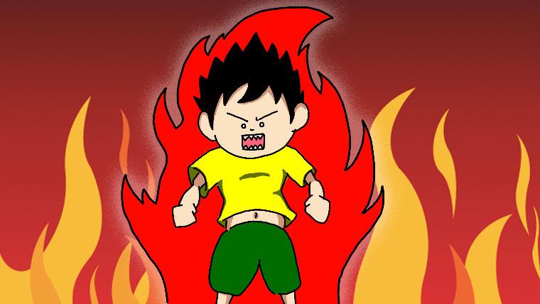 炎に巻かれたサボリン